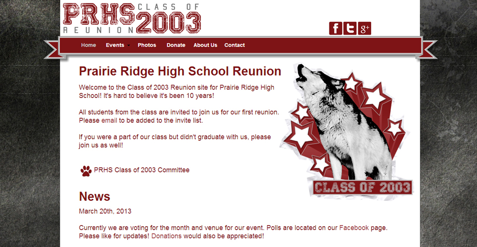 Prairie Ridge High School Class of 2003 Reunion Website
